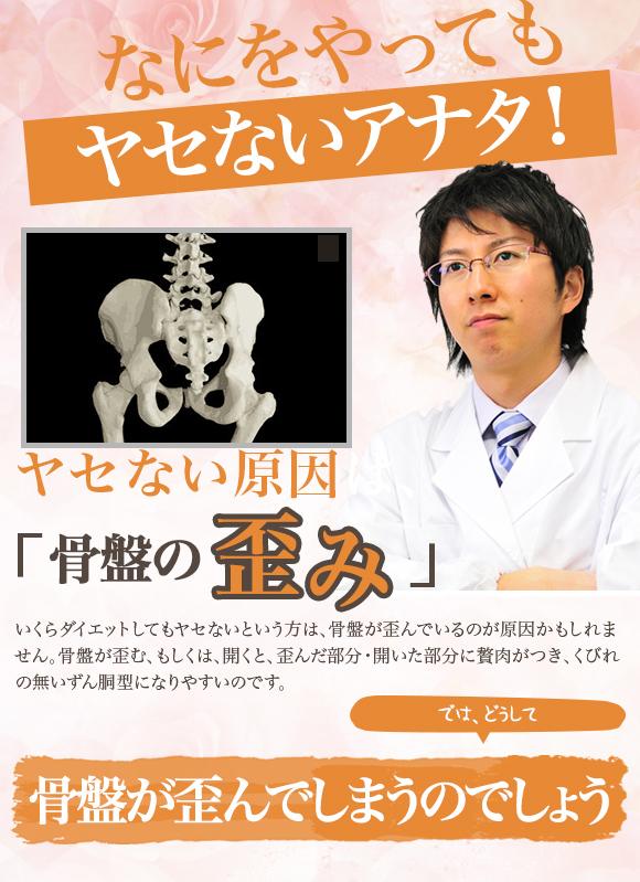 なにをやってもヤセないアナタ!ヤセない原因は、骨盤の 歪み いくらダイエットしてもヤセないという方は、骨盤が歪んでいるのが原因かもしれません。骨盤が歪む、もしくは、開くと、歪んだ部分・開いた部分に贅肉がつき、くびれの無いずん胴型になりやすいのです。 では、どうして骨盤が歪んでしまうのでしょう